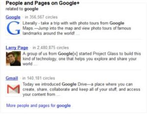 Google Plus results in Google search